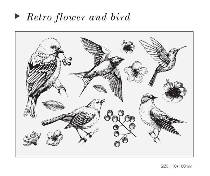 Birds and Flowers Acrylic Stamp Set