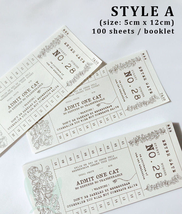 Vintage Cat Bus Transit Tickets