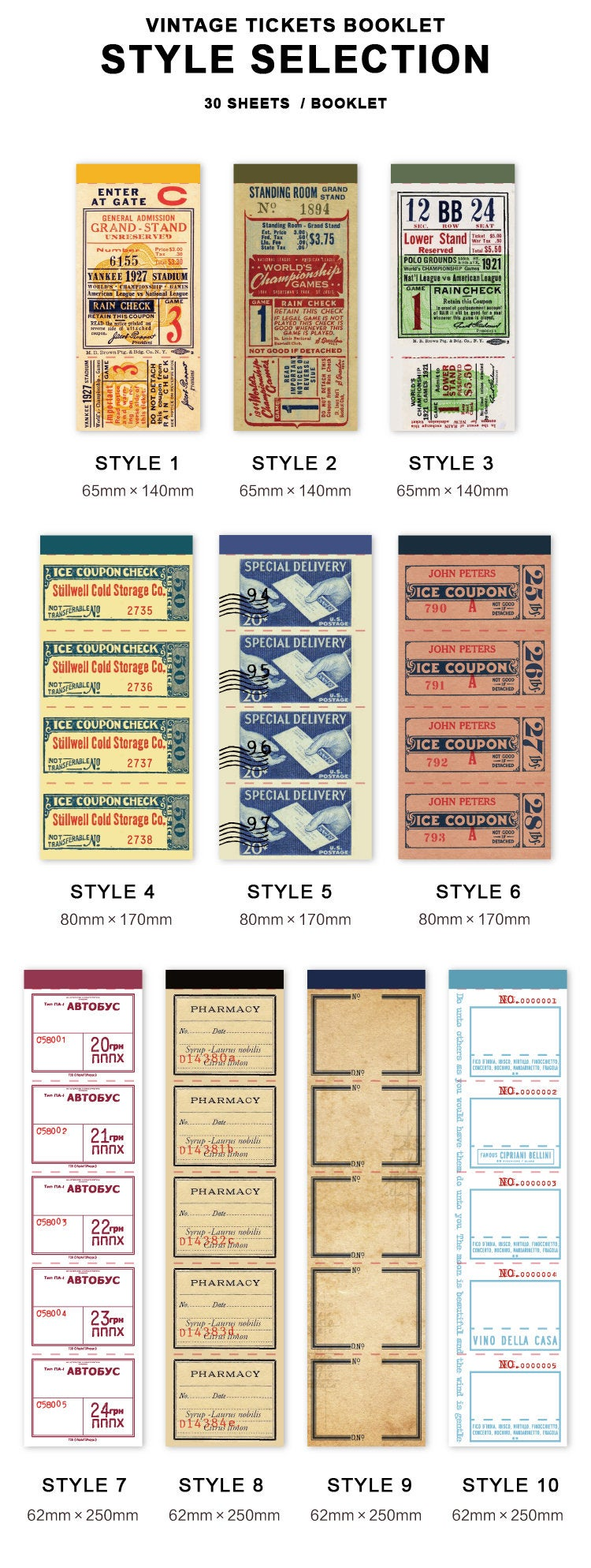 Vintage Tickets Paper Pad C