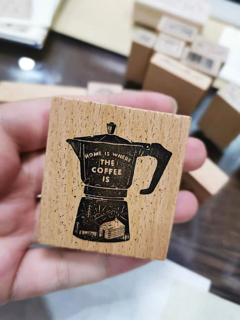Moka Pot Wooden Stamp