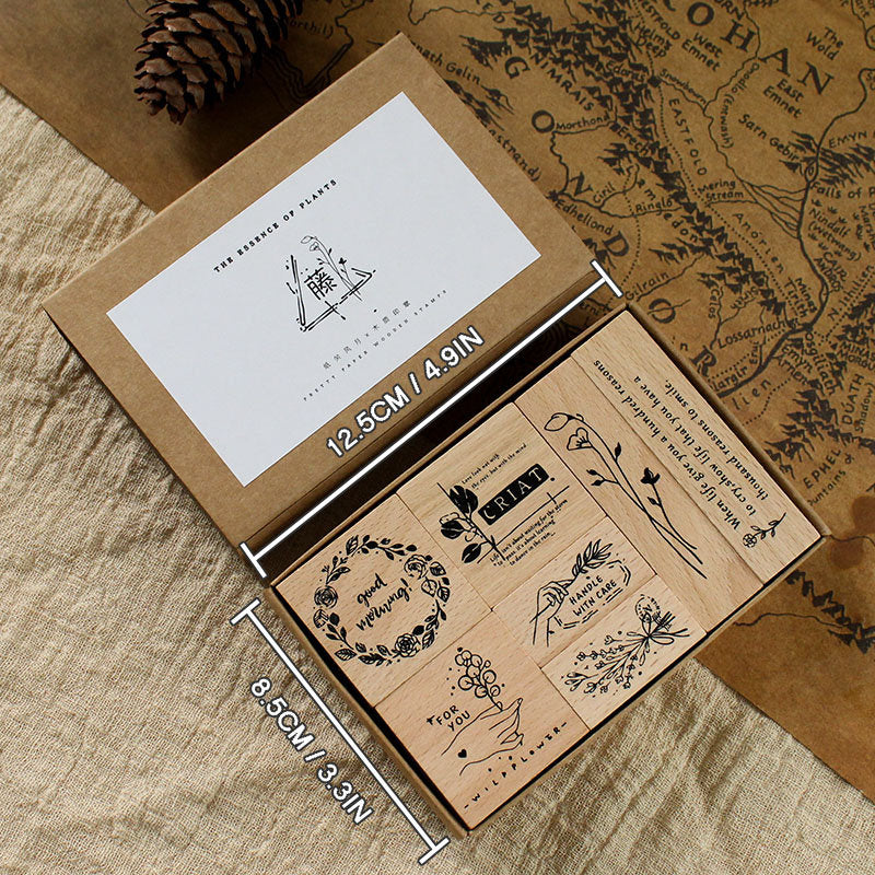 Floral Motifs Wooden Stamps Set