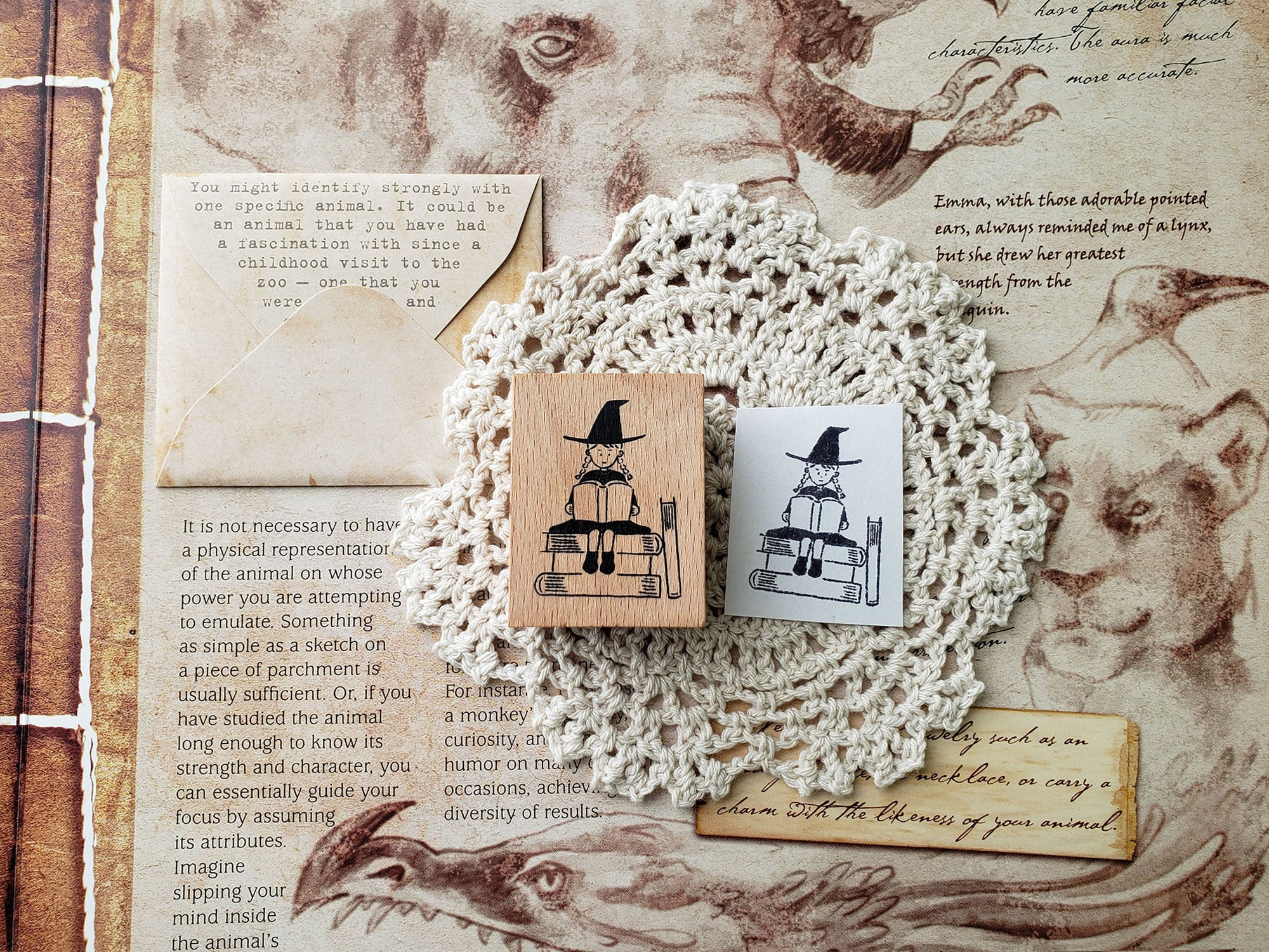 Little Witch Reading Wooden Stamp