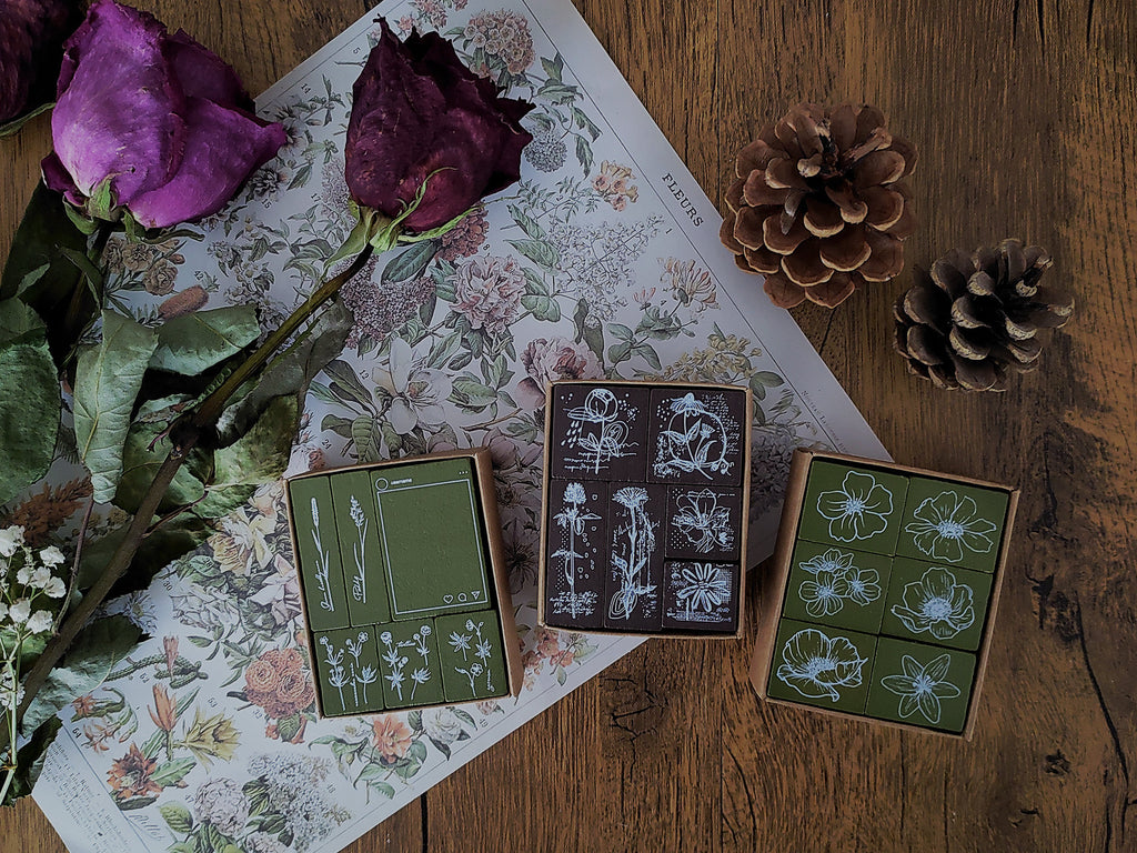 Floral Motifs Mini Wooden Stamps Set