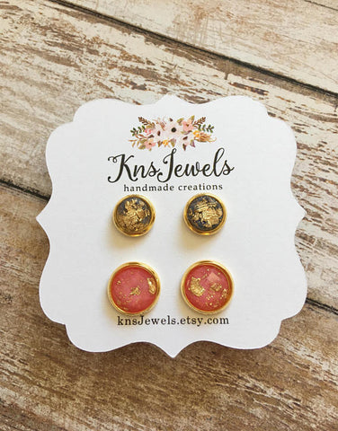 Black and Coral Goddess Studs