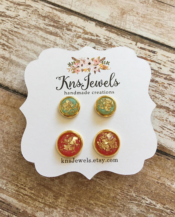Mint and Red Goddess Studs