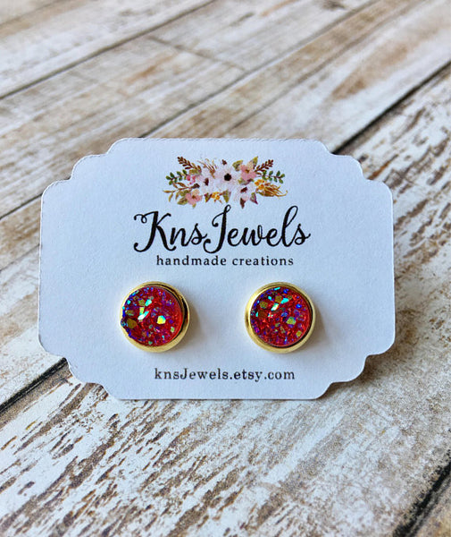 Hot Pink/Red Druzy Studs