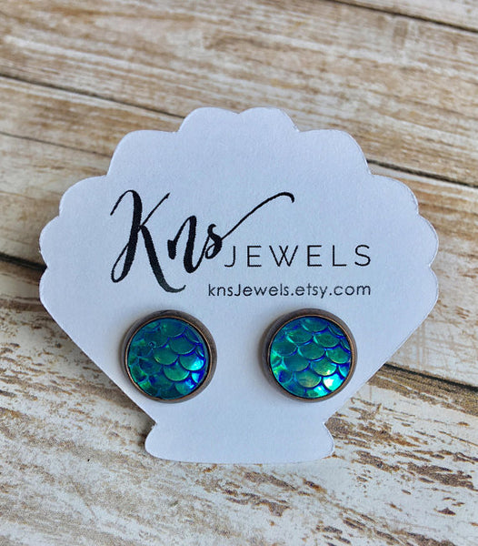 Aqua Mermaid Studs