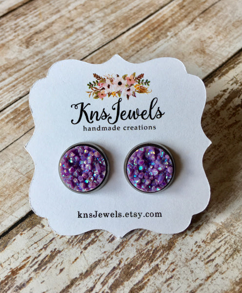 Frosted Purple Druzy Studs