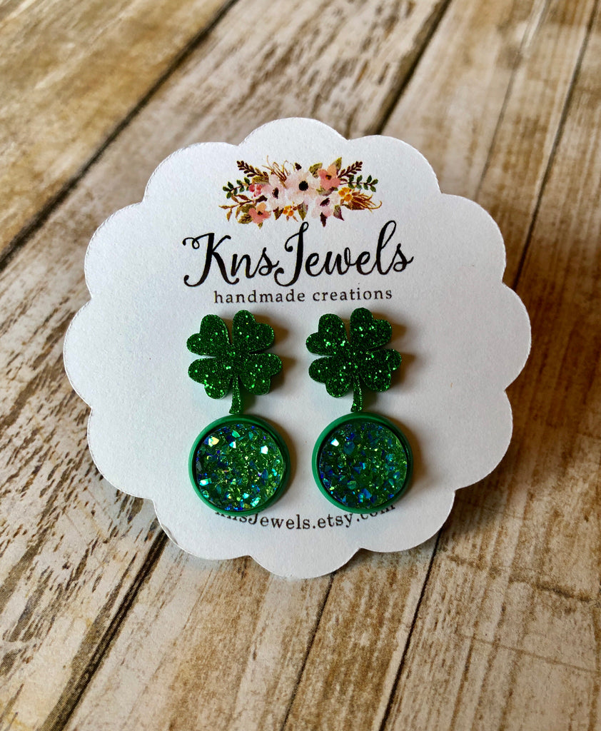 Clovers and Emerald Druzy Studs