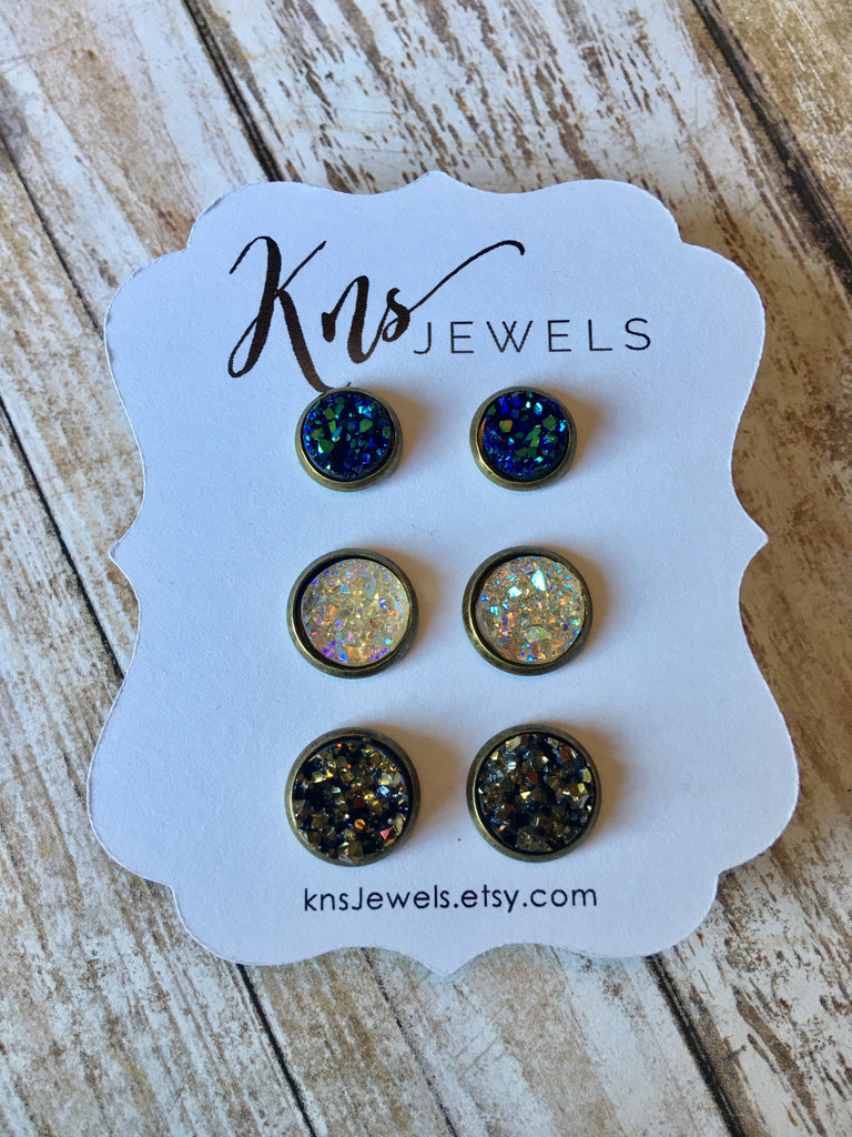 Multi Blue, Iridescent and Multi Copper Druzy Studs