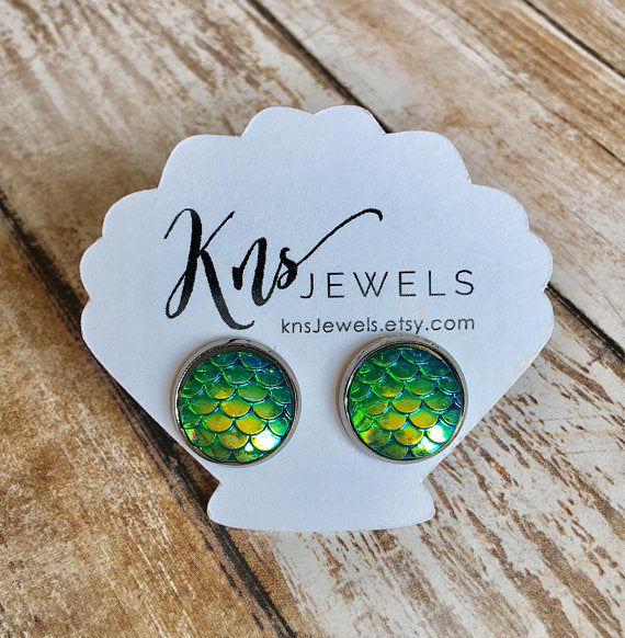 Green Mermaid Studs