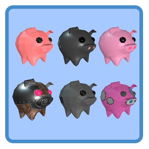 6 Cute Pigs (rigged - animated)