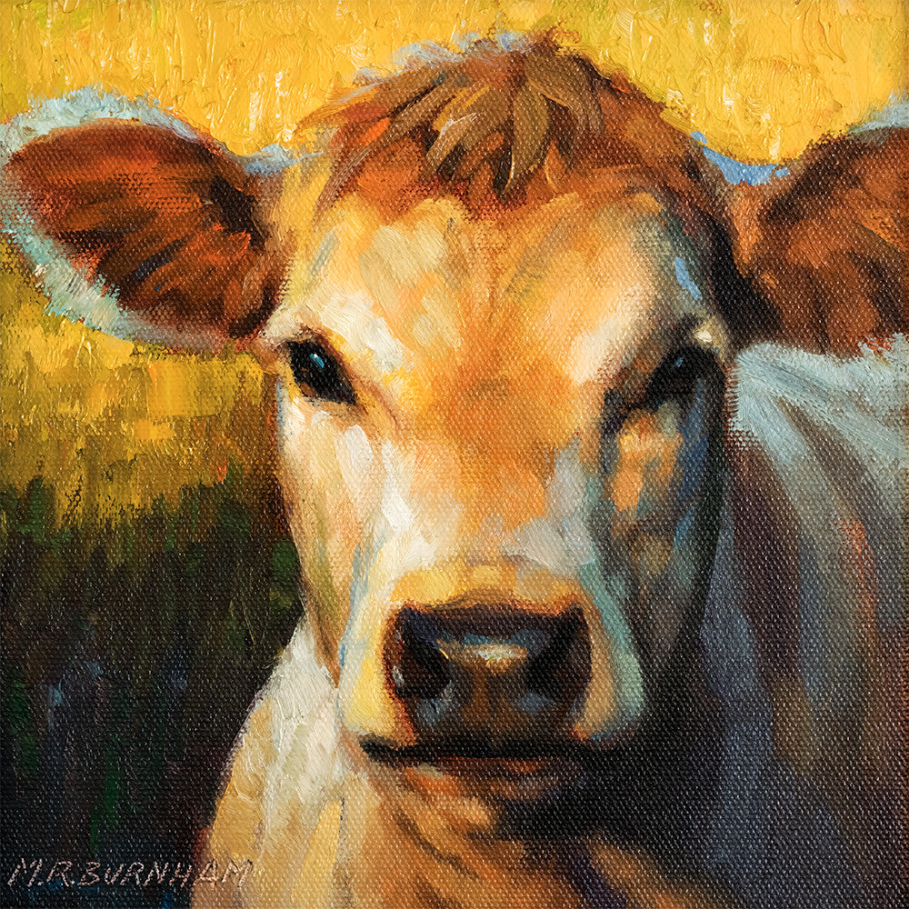 "Bossy Cow Came, Farm Animal Portrait, 8x8"", Original Oil Painting"