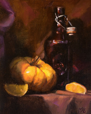 "Lemon, Squash & Bottle, Still Life Art, 10x8"", Original Oil Painting"