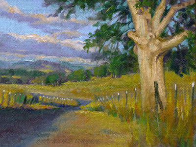 "By The Roadside, Northern CA Landscape, 6x8"", Original Oil Painting"