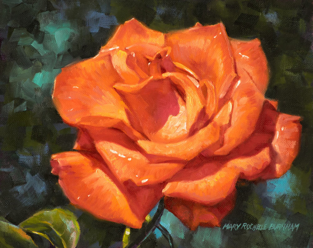 "Chinese Red Rose, Flower Still Life, 9x12"", Original Oil Painting"