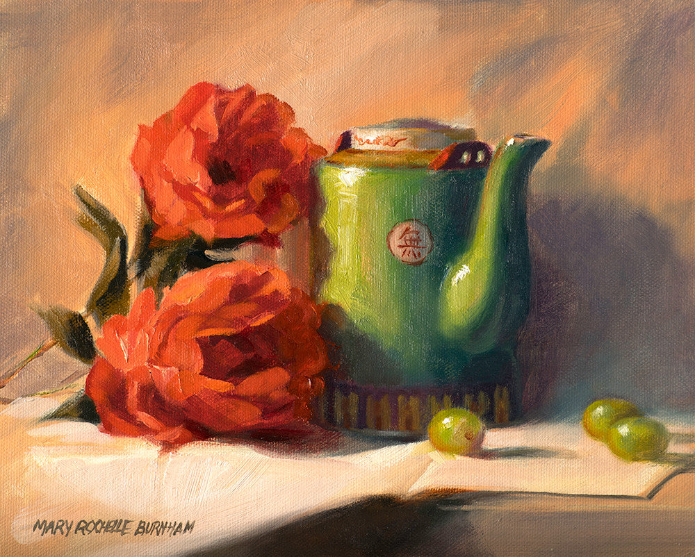"Chinese Tea Medley, Rose,Still Life, 8x10""Oil Painting"