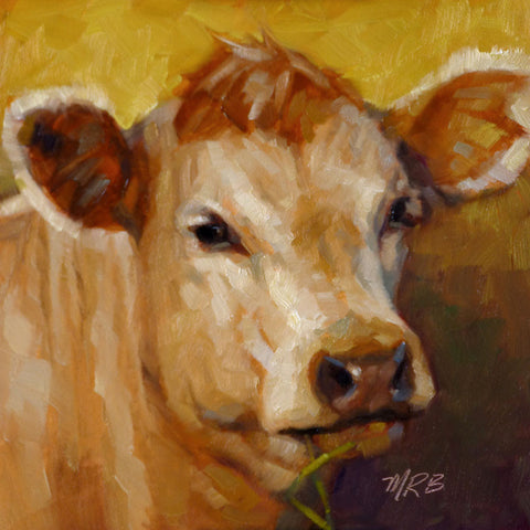 "Elsie The Cow, Farm Animal Portrait, 6x6"", Original Oil Painting"