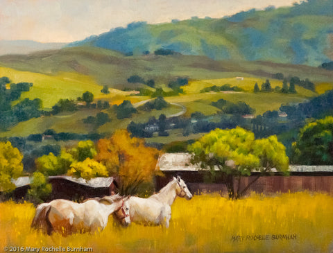 "Down In The Valley, Landscape & Horses, 11x14"", Original Oil Painting"