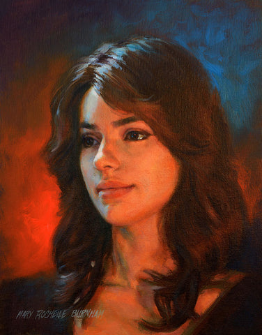 Fire & Ice, Beautiful Young Woman 14x11 Portrait Oil Painting