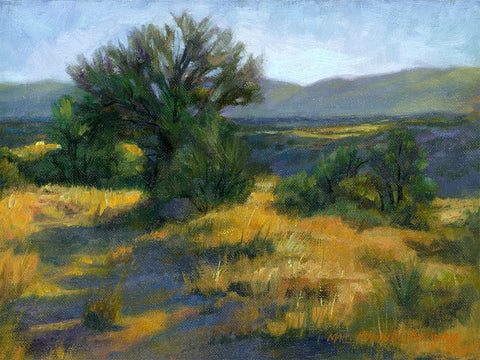 "Path To Higher Ground, Desert Landscape, 9x12"", Oil Painting"