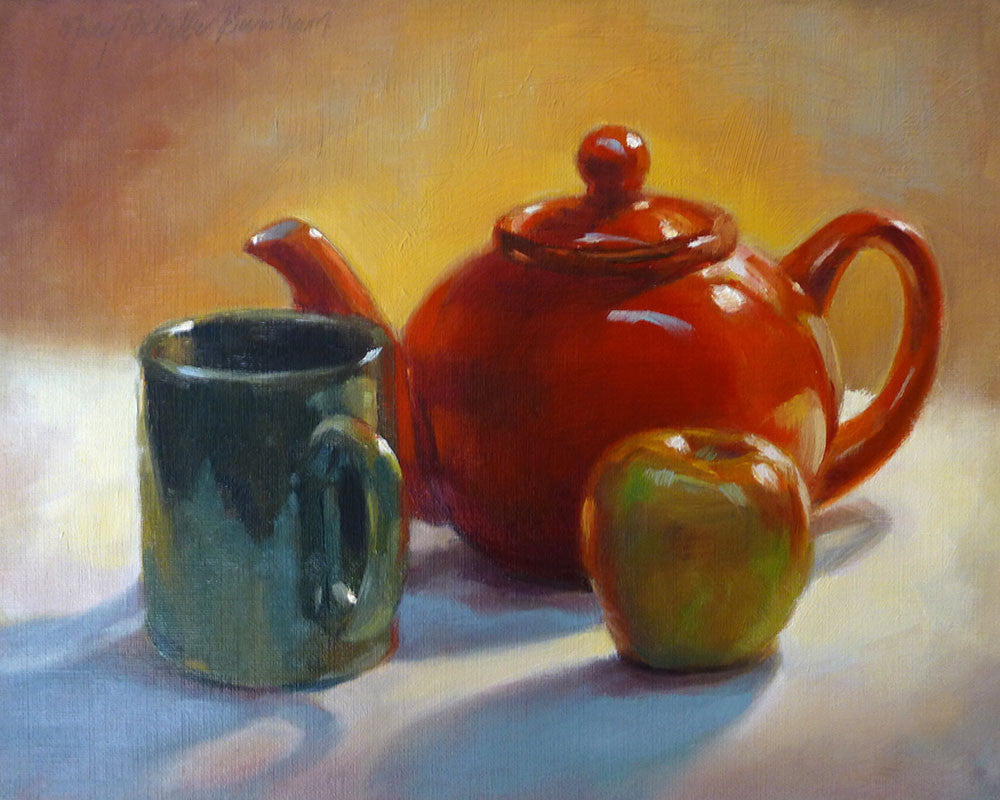 "Red Teapot, Mug & Apple, Still Life Art, 8x10"", Oil Painting"