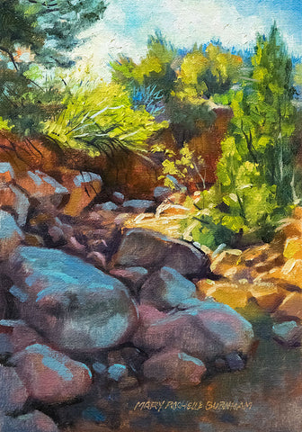 "Rocky Path To Enlightenment, Landscape Art 10x7"" Oil Painting"