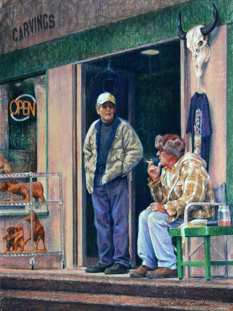 "The Carver, Figurative Art of Two Men, 16x12"" Pastel Painting"