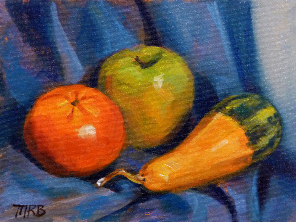 "Three Amigos, Fruit & Squash Still Life Art, 6x8"" Oil Painting"