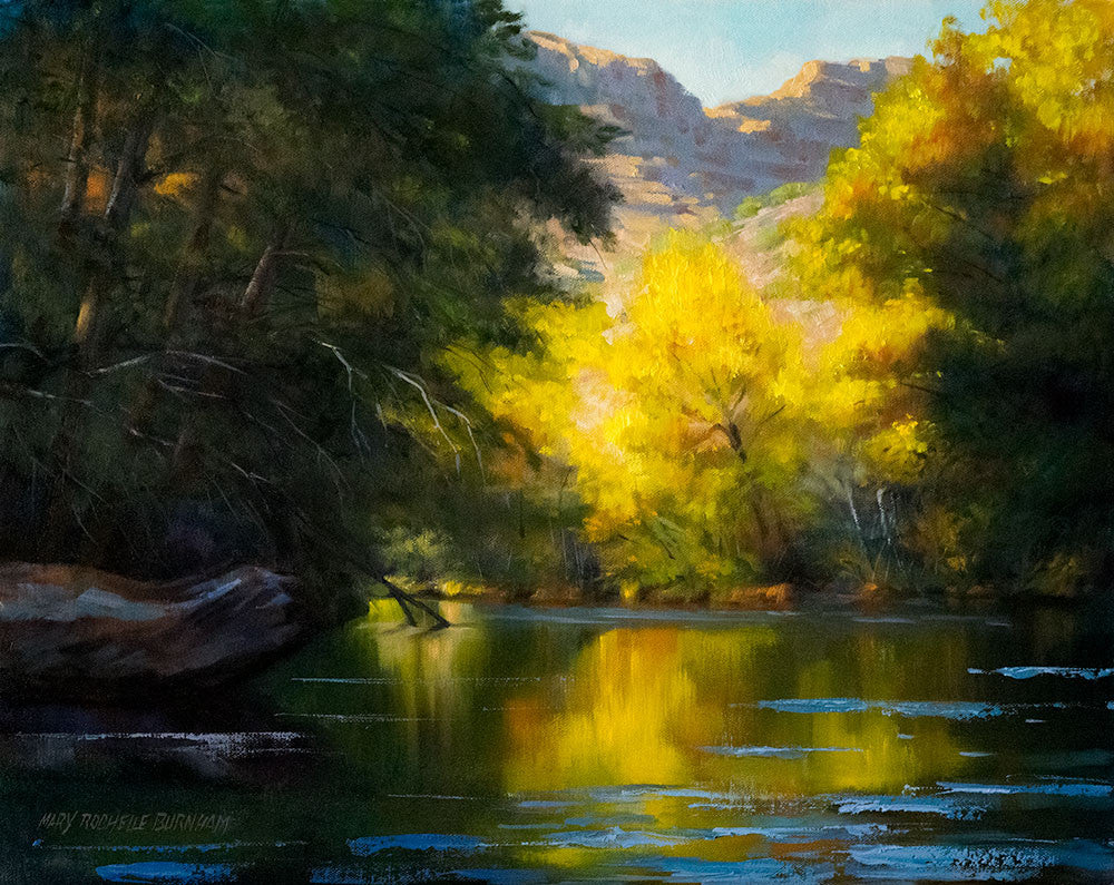 "My Secret Cove, River Landscape Art, 16x20"", Original Oil Painting"