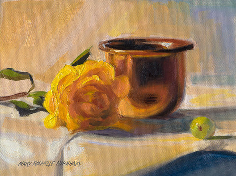 "Yellow Rose, Copperpot & Grape Still Life, 9x12"" Oil Painting"