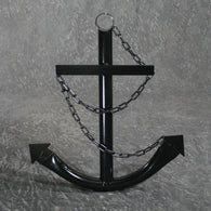 Decorative Nautical Anchor w/Chain - Black