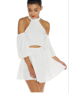 cold shoulder peekaboo white dress