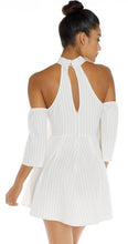 Bella La Raya Striped Off the Shoulder Mini Dress
