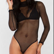 Kylie Mesh Net Mock Turtleneck Bodysuit
