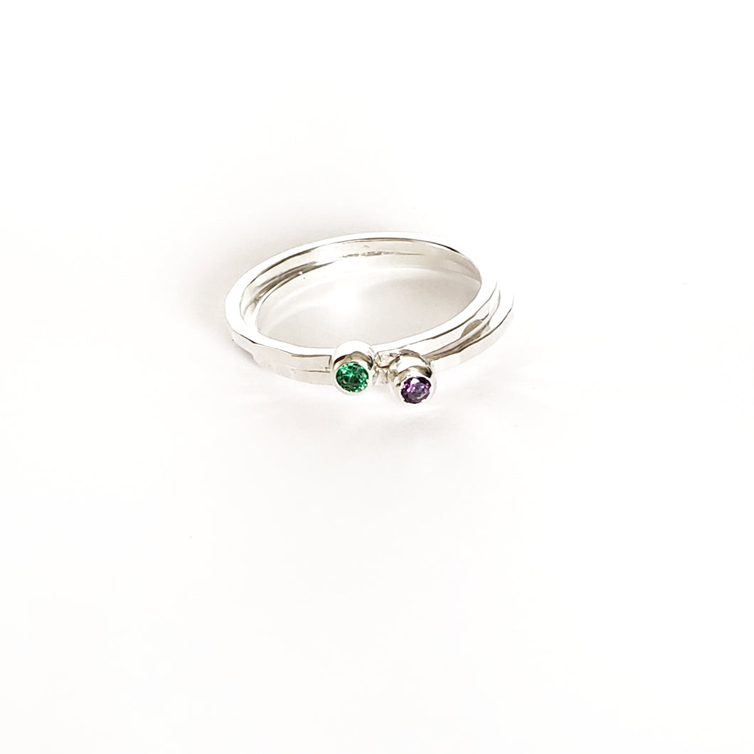 Birthstone Rings - Set of 2
