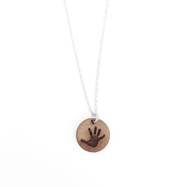 Handprint/Footprint Necklace - Wood