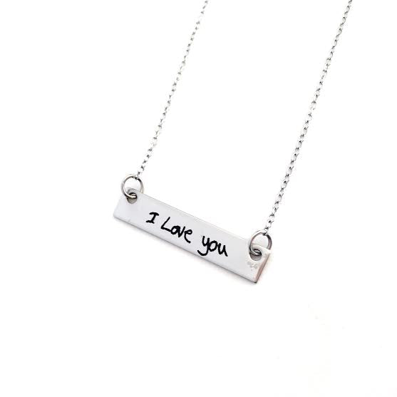 Horizontal Handwriting Necklace - Stainless Steel