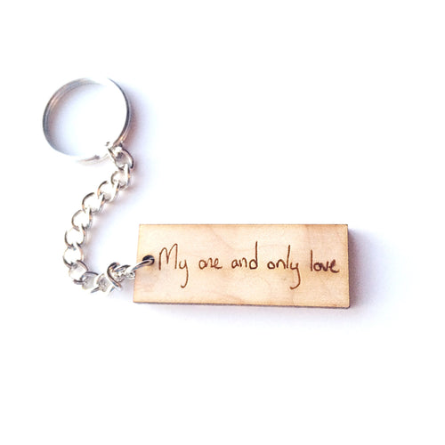 Handwriting Wood or Metal Keychain
