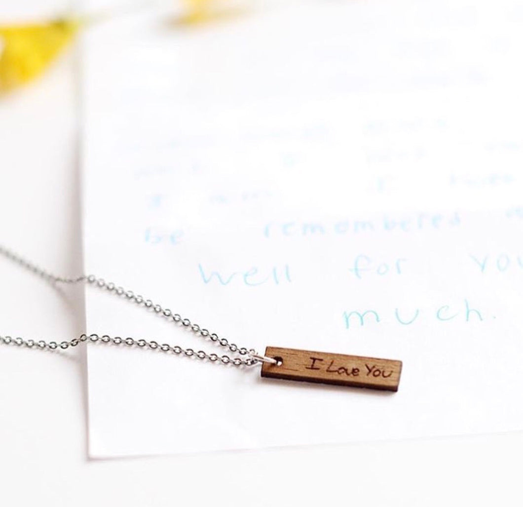 Handwriting Necklace - Wood
