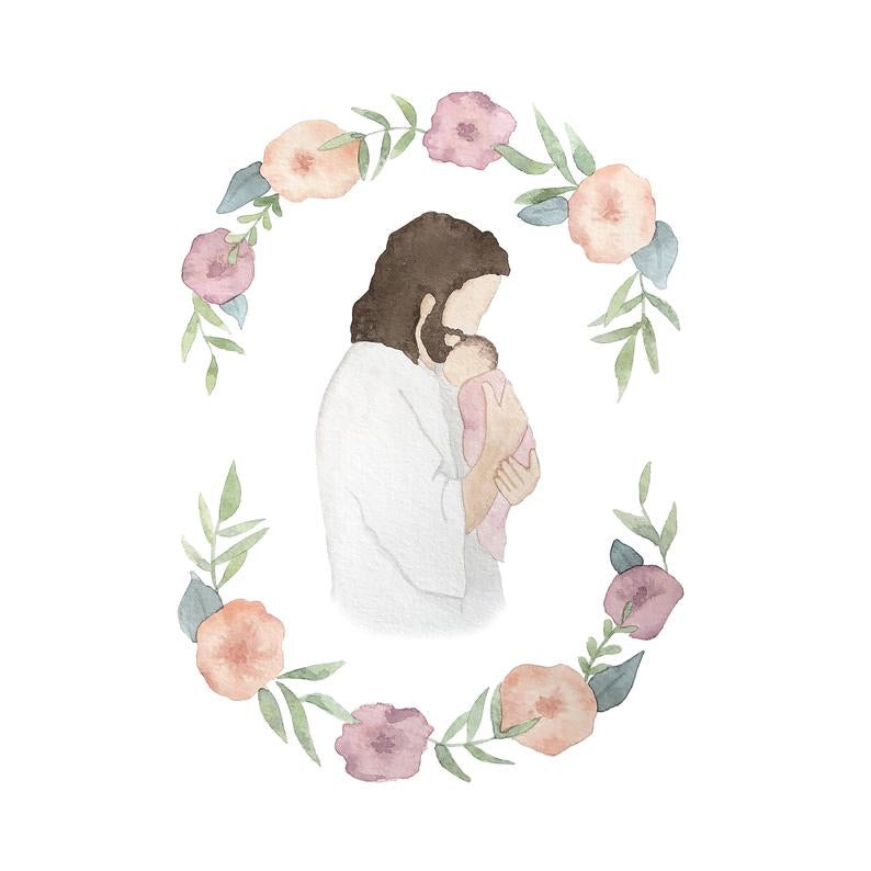 Jesus Christ Holding Baby Girl Floral Watercolor Print