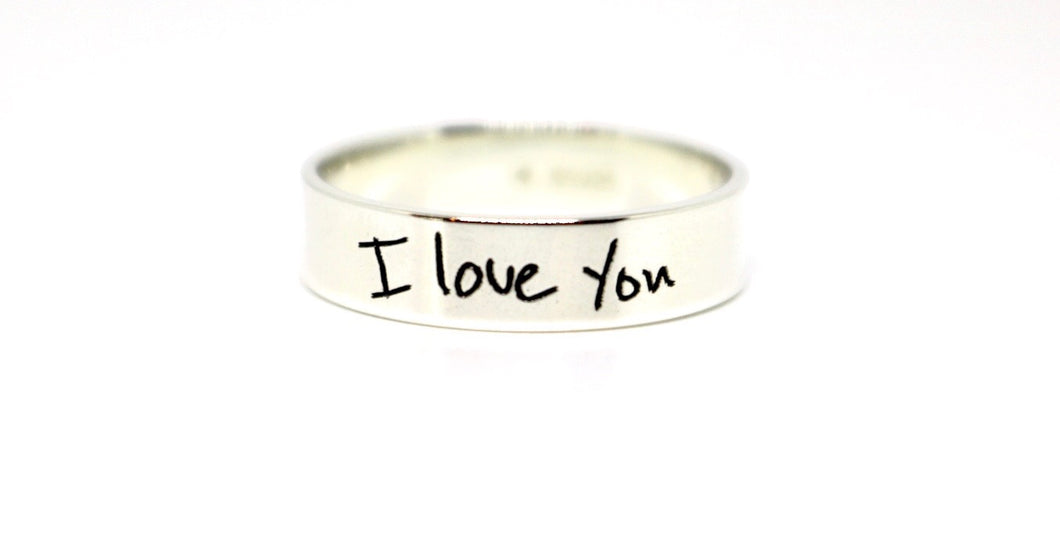 Handwritten Engraved Ring