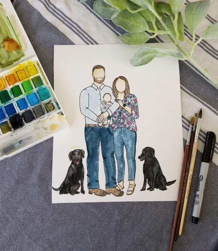 Watercolor Family Portraits