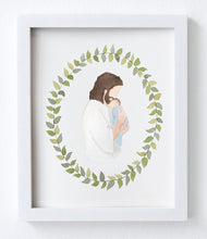Jesus Christ Holding Baby Watercolor Print