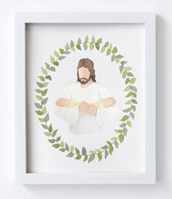 Jesus Christ Holding Twin Babies Watercolor Print