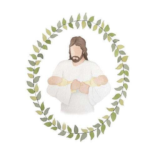 Jesus Christ Holding Two Babies Watercolor Print