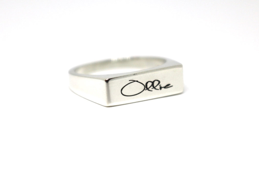 Handwritten Rectangle Signet Ring