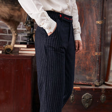 Retro Striped Thicken Woolen Trousers