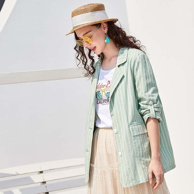 Cotton Fashion Green Striped Blazer