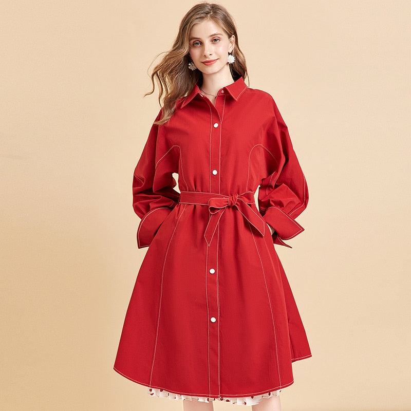 Red Trench Coat With Belt